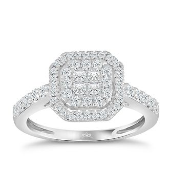 Princessa 9ct White Gold 2/3ct Diamond Cluster Ring - Product number 4576799
