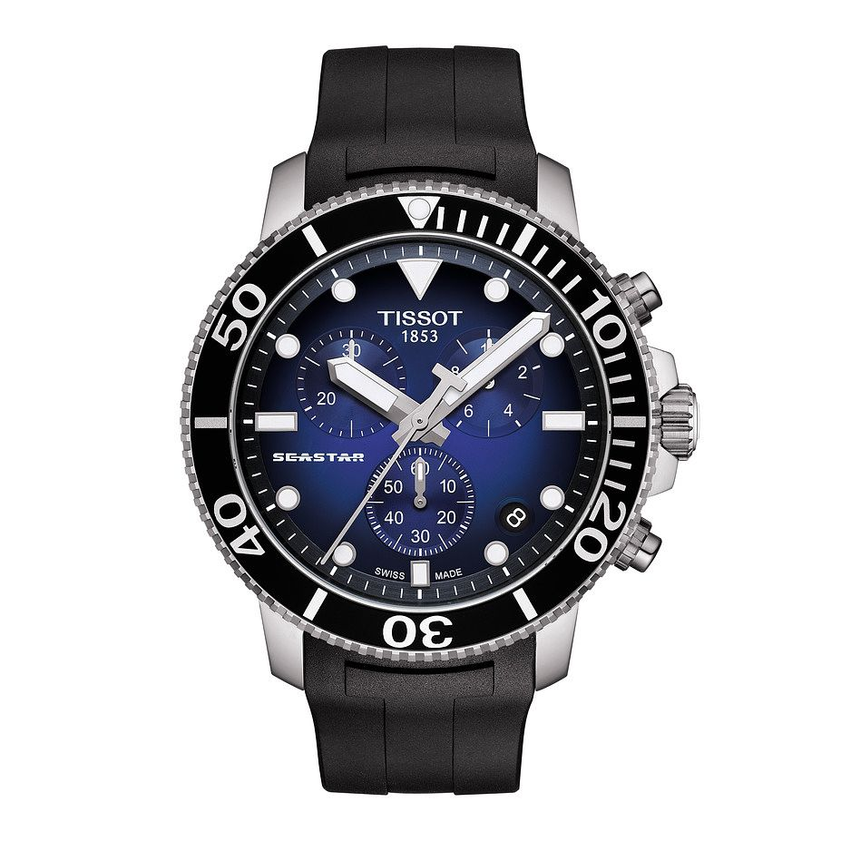 Tissot Seastar 1000 Men's Black Rubber Strap Watch - Product number 4577094