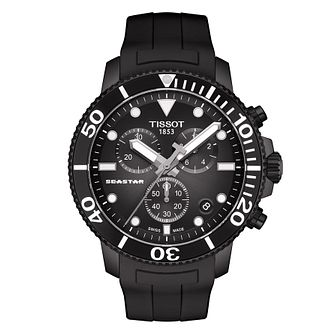 Tissot Seastar 1000 Men's Black Silicone Strap Watch - Product number 4577167
