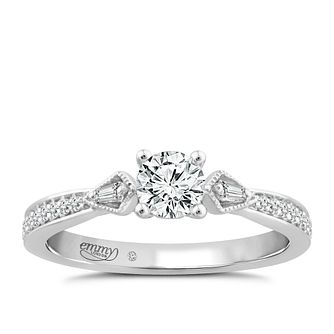 Emmy London Platinum 1/2ct Diamond Solitaire Mix Cut Ring - Product number 4577558