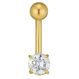 9ct Yellow Gold Cubic Zirconia Belly Bar - Product number 4577736
