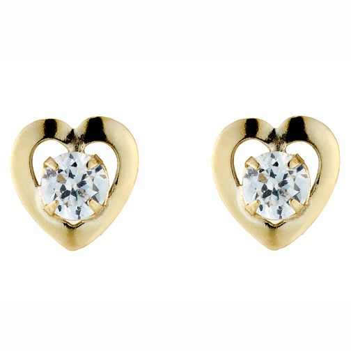 aef44ec4a 9ct Yellow Gold Cubic Zirconia heart Stud Earrings - Product number 4577787