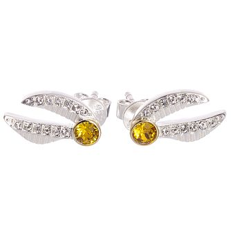 Harry Potter Silver Swarovski Crystal Golden Snitch Earrings - Product number 4577930
