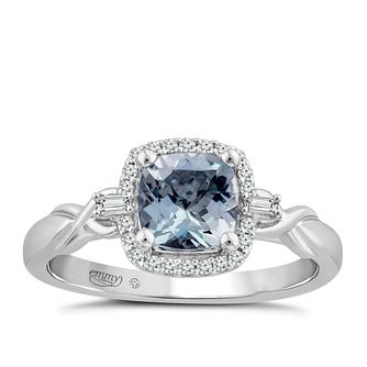 Emmy London 18ct White Gold Aquamarine & 1/10ct Diamond Ring - Product number 4578201