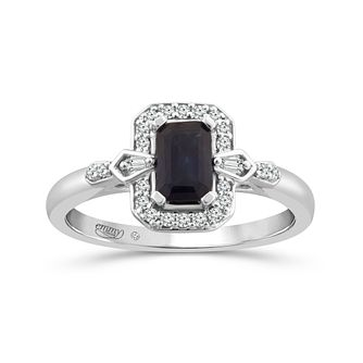 Emmy London 18ct White Gold Sapphire & 1/10ct Diamond Ring - Product number 4578767