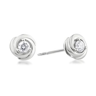 Centre of Me 9ct White Gold 1/4ct Diamond Swirl Earrings - Product number 4580133