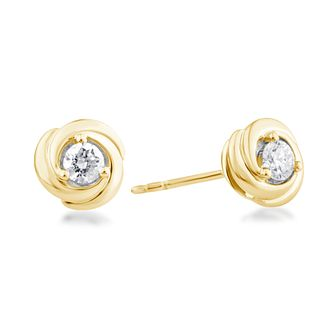 Centre of Me 9ct Yellow Gold 1/4ct Diamond Swirl Earrings - Product number 4580141