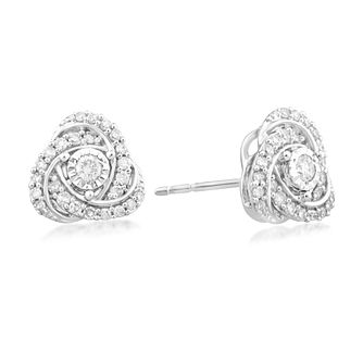Centre of Me 9ct White Gold 1/3ct Diamond Knot Earrings - Product number 4580176