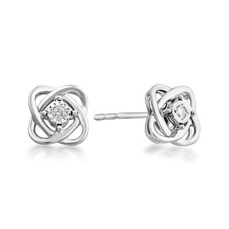 Centre of Me 9ct White Gold Diamond Swirl Stud Earrings - Product number 4580184