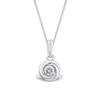 Centre of Me 9ct White Gold 1/10ct Diamond Swirl Pendant - Product number 4580206