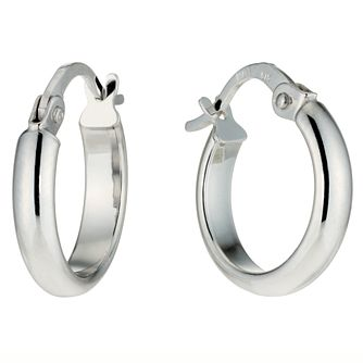 9ct White Gold 11mm Hoop Earrings - Product number 4580281