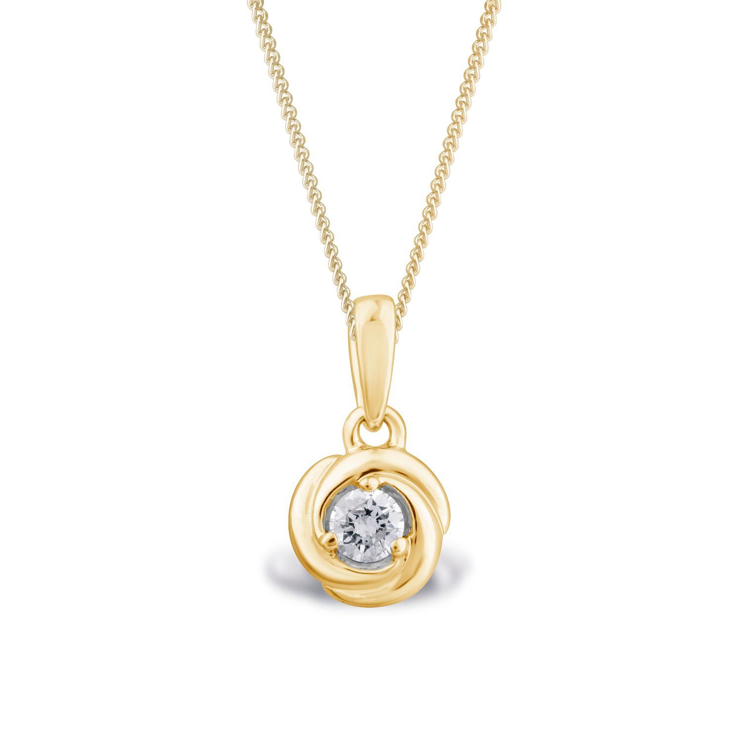 Centre of Me 9ct Yellow Gold 0.10ct Diamond Swirl Pendant - Product number 4580400