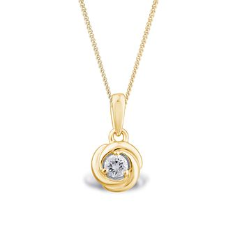 Centre of Me 9ct Yellow Gold 1/10ct Diamond Swirl Pendant - Product number 4580400