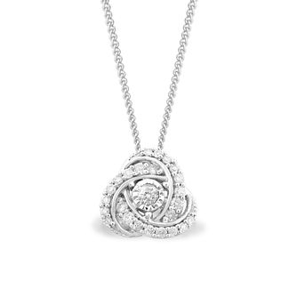 Centre of Me 9ct White Gold 1/5ct Diamond Knot Pendant - Product number 4580419