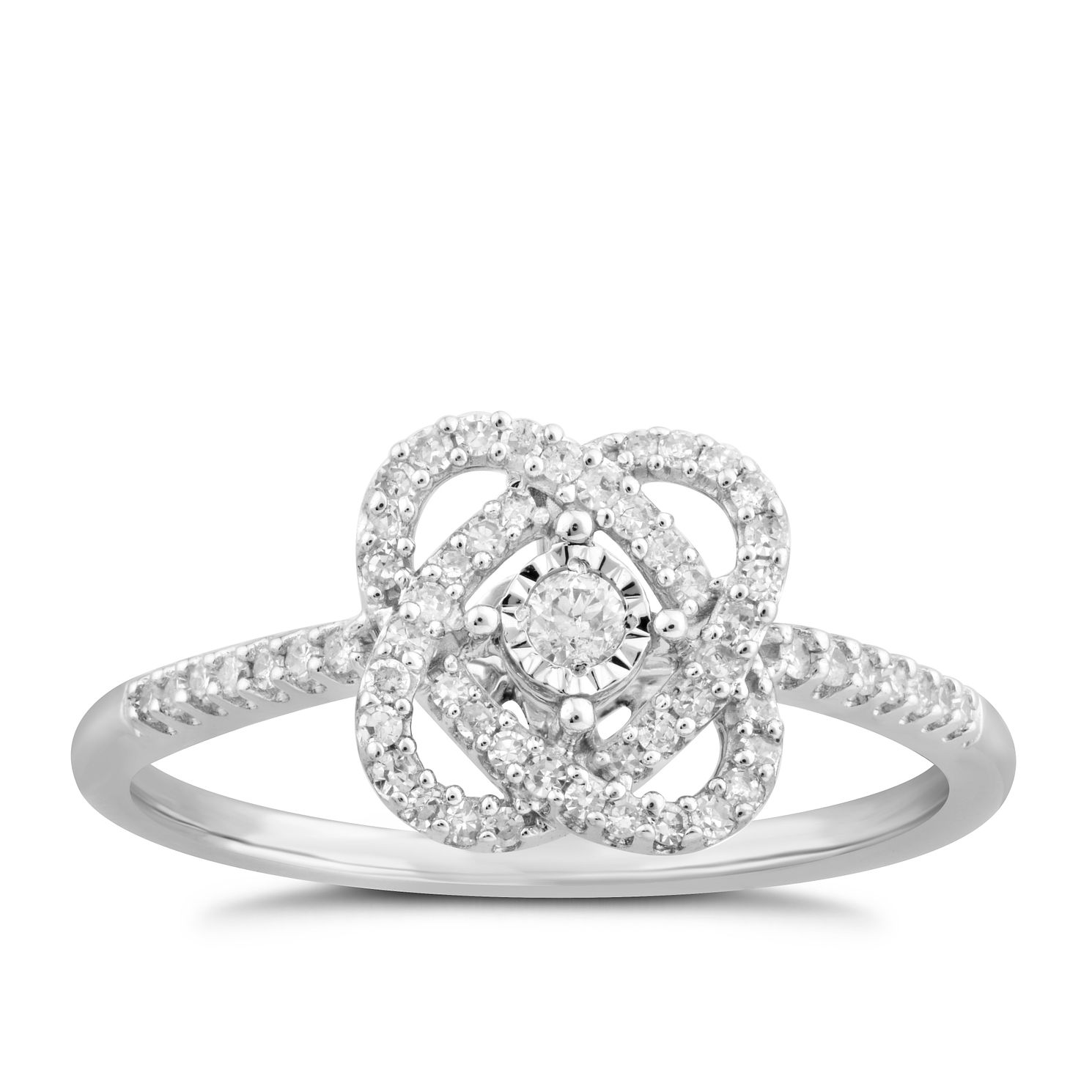 Centre of Me 9ct White Gold 0.20ct Total Diamond Swirl Ring - Product number 4580516