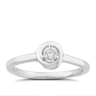 Centre of Me 9ct White Gold 1/10ct Diamond Swirl Ring - Product number 4581644