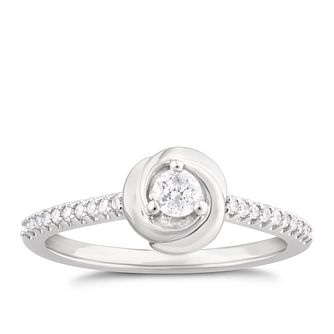 Centre of Me 9ct White Gold 1/4ct Diamond Swirl Ring - Product number 4582438