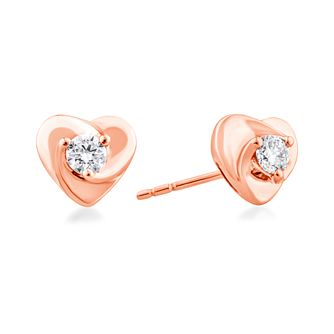 Centre of Me 9ct Rose Gold 1/5ct Diamond Heart Earrings - Product number 4582608