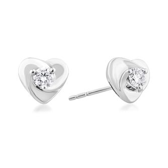 Centre of Me 9ct White Gold 1/5ct Diamond Heart Earrings - Product number 4582616