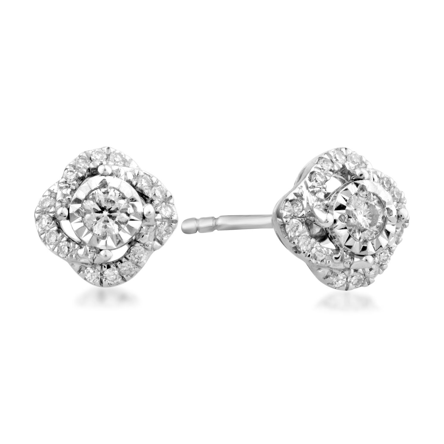 Centre of Me 9ct White Gold 1/5ct Diamond Swirl Earrings - Product number 4582675