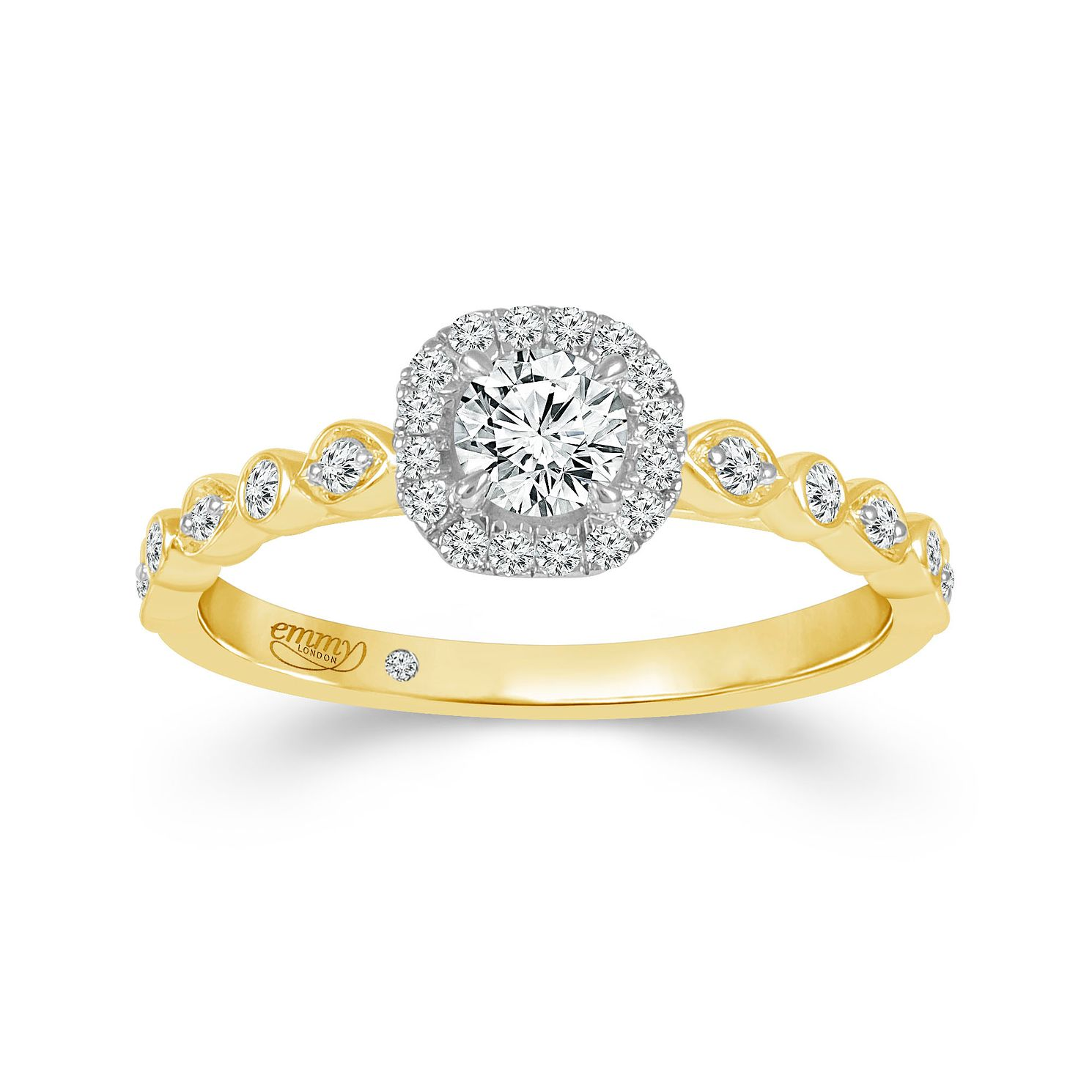 Emmy London 18ct Yellow Gold 0.40ct Diamond Halo Ring - Product number 4585674