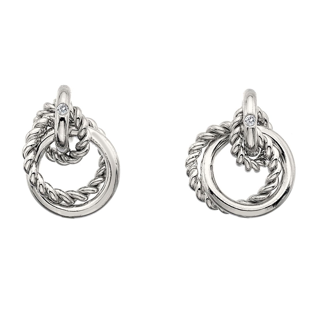 Hot Diamonds Sterling Silver Interlocking Hoop Earrings - Product number 4587065