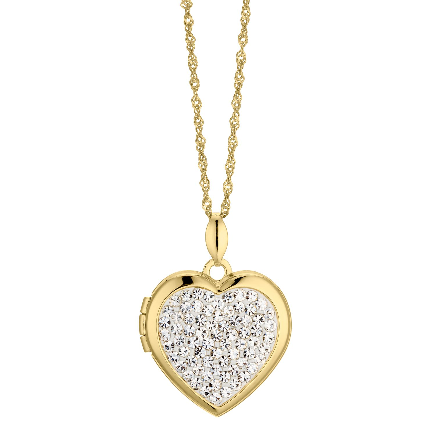 Silver & 9ct Bonded Yellow Gold Crystal Heart Locket - Product number 4587758