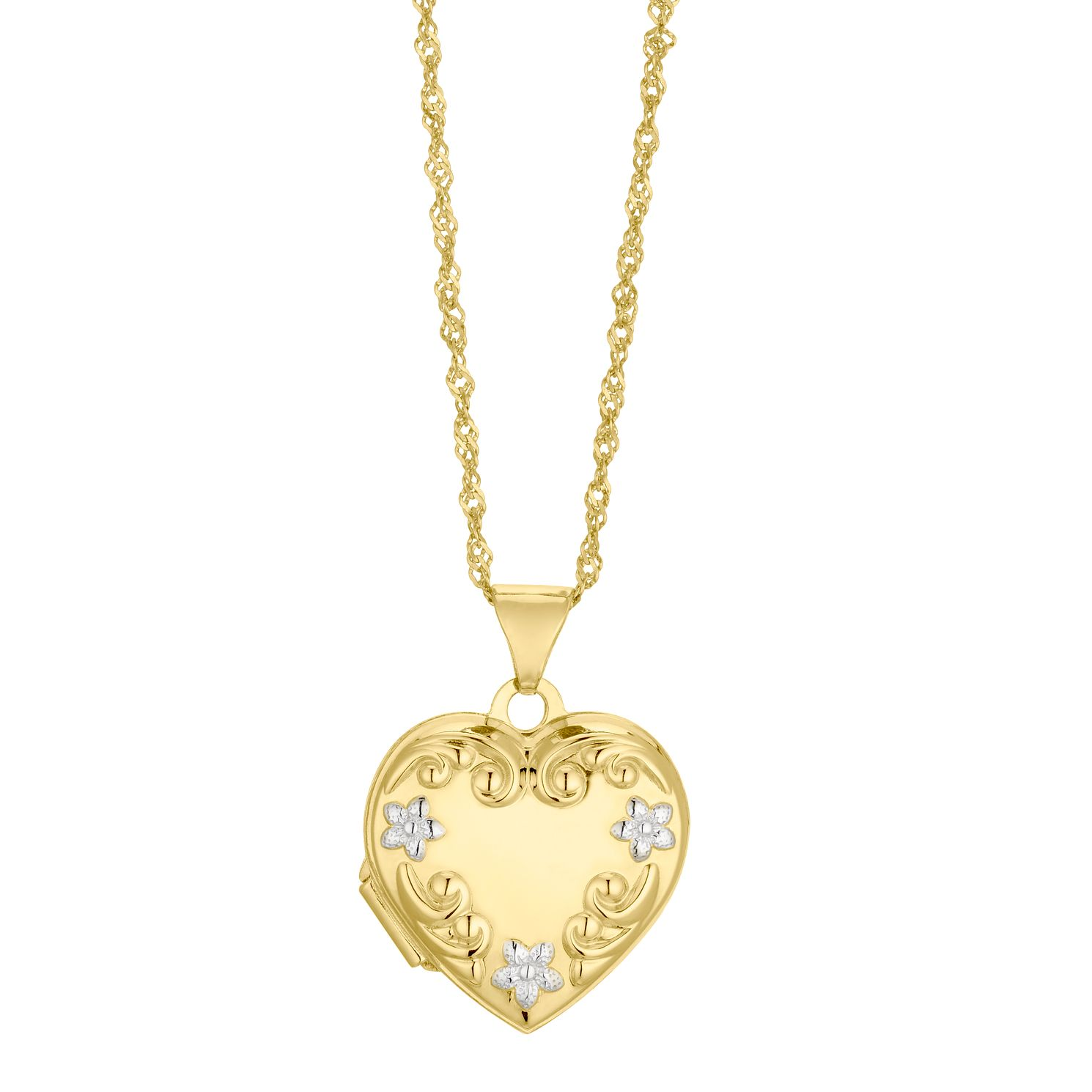 Silver & 9ct Bonded Yellow Gold Heart Floral Locket - Product number 4588371
