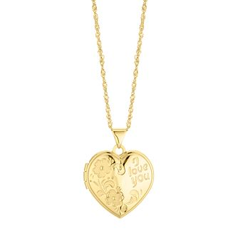 Silver & 9ct Bonded Yellow Gold Heart Love Locket - Product number 4588398