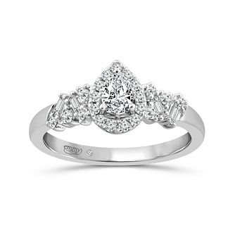 Emmy London Platinum 1/2ct Diamond Pear Halo Ring - Product number 4590066