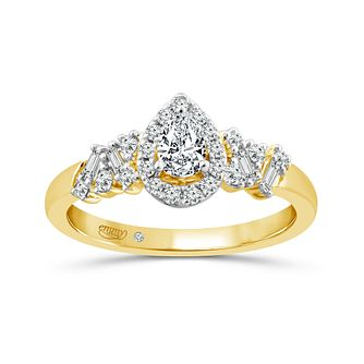 Emmy London 18ct Yellow Gold 1/2ct Diamond Pear Halo Ring - Product number 4591178