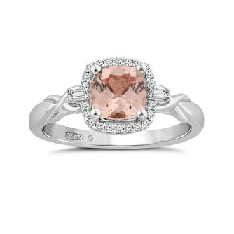Emmy London 18ct White Gold Morganite & 1/10ct Diamond Ring - Product number 4597117