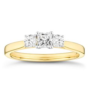 18ct Yellow Gold 1/2 Carat Three Stone Princess Diamond Ring - Product number 4600967