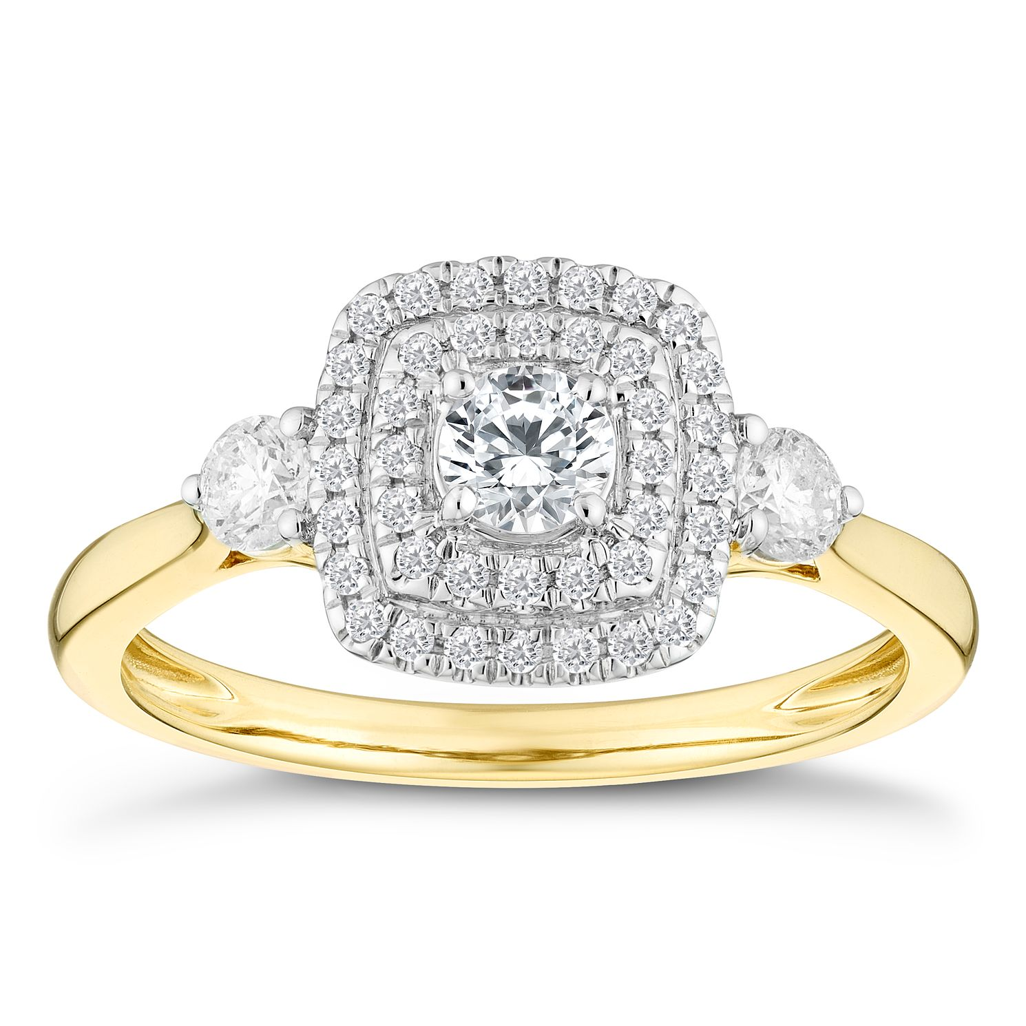 9ct Yellow Gold 0.50ct Total Diamond Three Stone Halo Ring - Product number 4601238