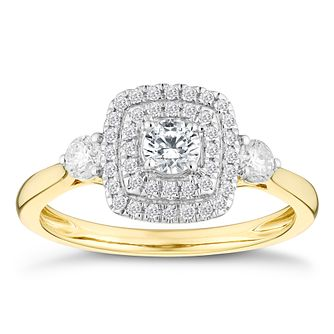 9ct Yellow Gold 1/2 Carat Three Stone Diamond Halo Ring - Product number 4601238