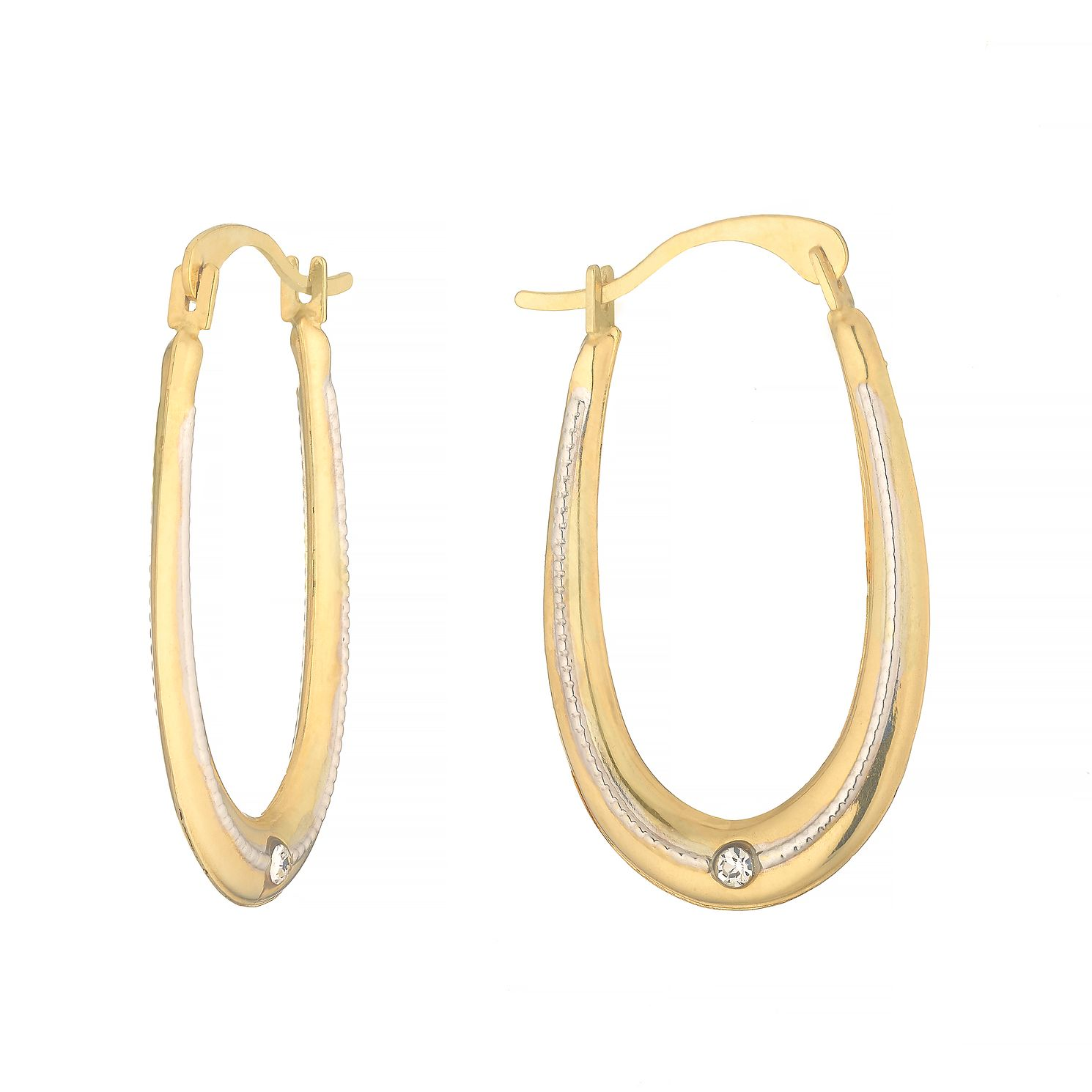 9ct Two Tone Gold Crystal Oval Milgrain Hoop Earrings - Product number 4601661