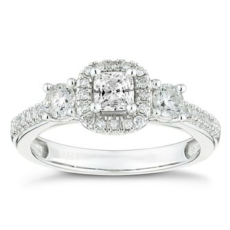 18ct White Gold 3/4 Carat Three Stone Diamond Halo Ring - Product number 4602803