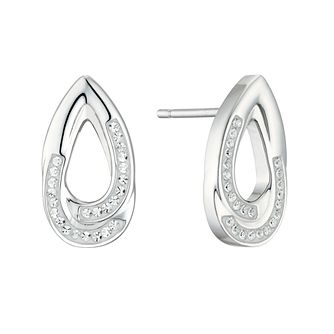 Evoke Rhodium Plated Crystal Open Teardrop Stud Earrings - Product number 4602943