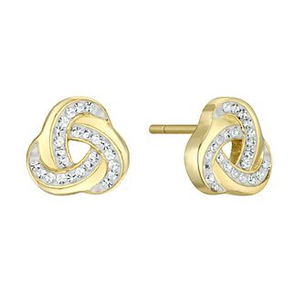 Evoke Yellow Gold Plated Crystal Knot Stud Earrings - Product number 4602978