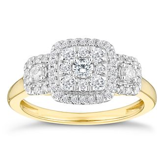 9ct Yellow Gold Three Stone 0.50ct Total Diamond Halo Ring - Product number 4603133