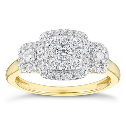 9ct Yellow Gold Three Stone 1/2 Carat Diamond Halo Ring - Product number 4603133