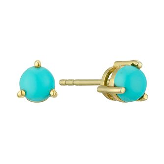 Yellow Gold Plated Silver Blue Stone 5mm Stud Earrings - Product number 4603583