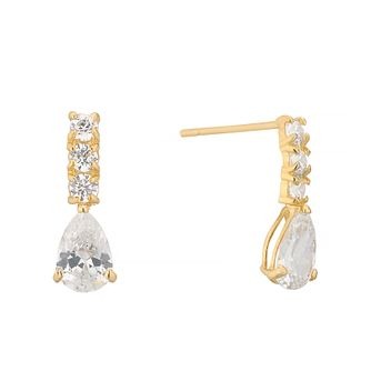 9ct Yellow Gold Cubic Zirconia Pear Drop Earrings - Product number 4603648