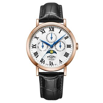 Rotary Windsor Men's Rose Gold Plated Moonphase Watch - Product number 4603788