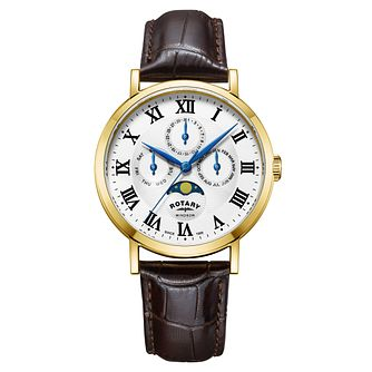 Rotary Windsor Men's Yellow Gold Plated Moonphase Watch - Product number 4603796