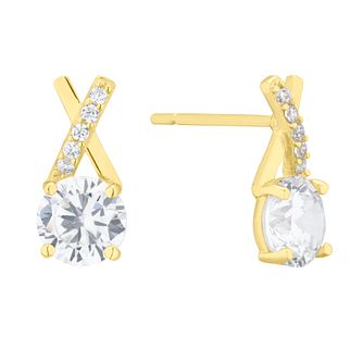 9ct Yellow Gold Cubic Zirconia Kiss Stud Earrings - Product number 4604040