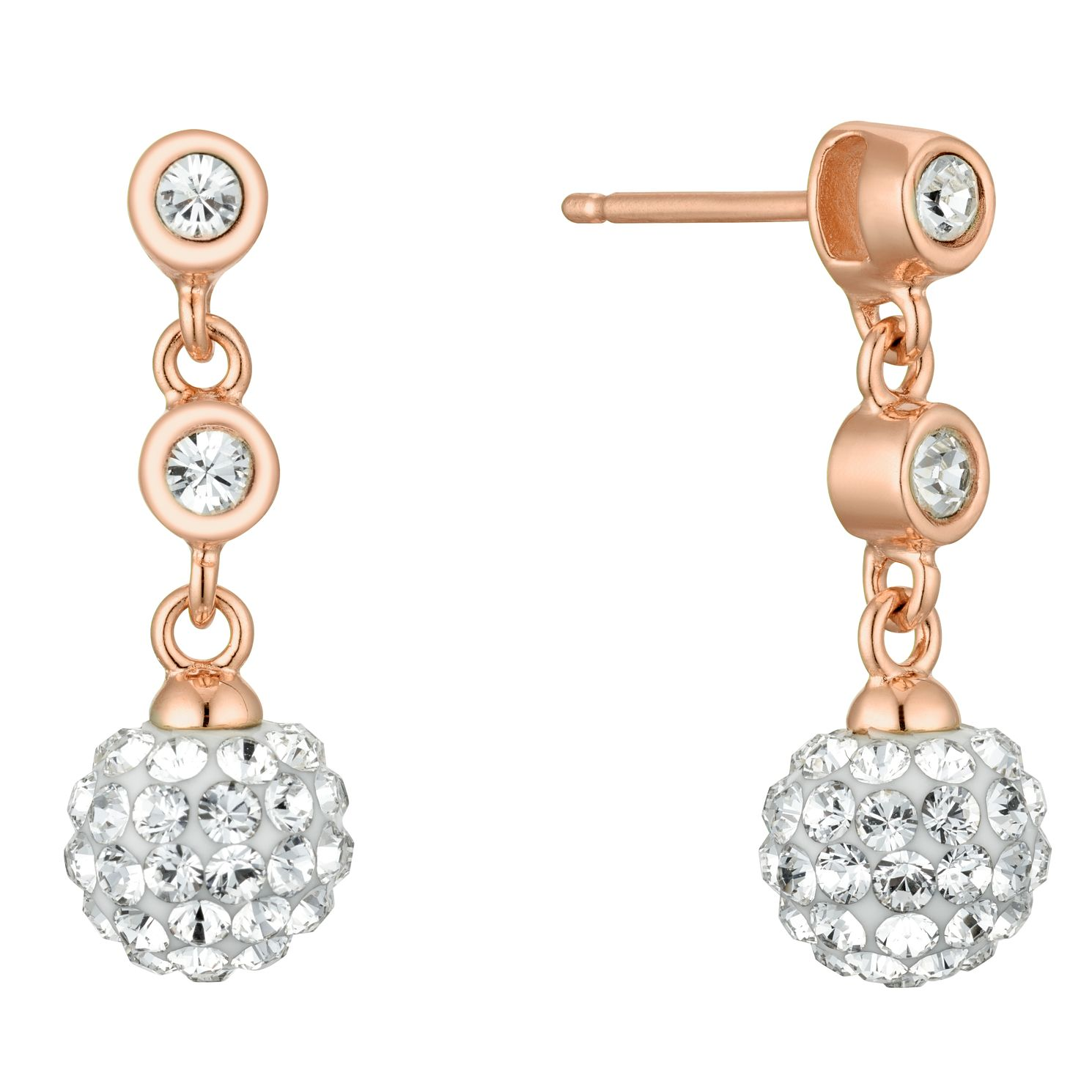 Evoke Rose Gold Plated Crystal Ball Drop Earrings - Product number 4604199