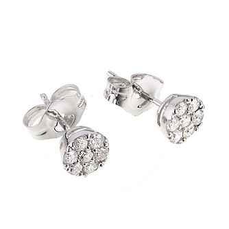 9ct White Gold 0.25ct Total Diamond Cluster Stud Earrings - Product number 4604377