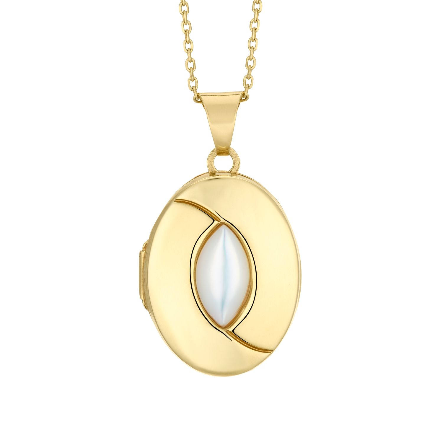 9ct Yellow Gold Plated Mother of Pearl Oval Locket - Product number 4604385