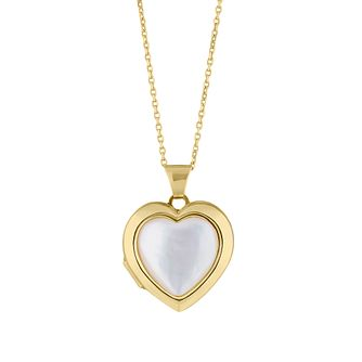 Yellow Gold Plated Mother Of Pearl Heart Locket - Product number 4604393